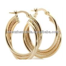 Großes Band-Ohrring 18K Gold überzogene Art- und Weiseschmucksachen für Frauen Brincos