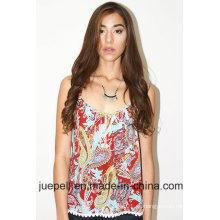 2016 Nuevas damas tejidas Trim Paisley Impreso Top