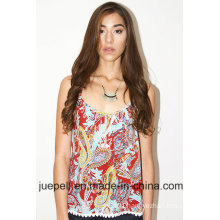 2016 New Ladies Woven Trim Paisley Printed Top
