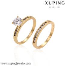 14445 Hot venda brilhante amantes jóias simplesmente estilo zircão pavimentado anéis conjunto de ouro casais anéis