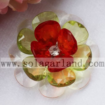 Handgemaakte 54MM acryl kristal Faceted Teardrop Beaded Flower
