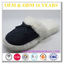 New arrival suede with plush lining woman winter plush home slipper