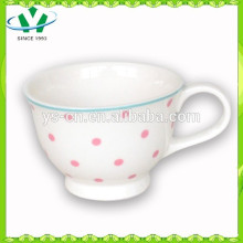 Hot Sale Wholesale Pink Dot Ceramic Coffee Cup Factory