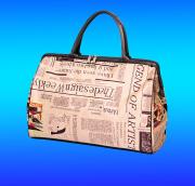 Sublimation newspaper pattern duffel purse PVC travel bag, offset printing newsprint journal magazine duffle tote handbag bag