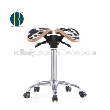 Taburete de silla de montar de cuero blanco negro de alta calidad para dentista con base de cromo