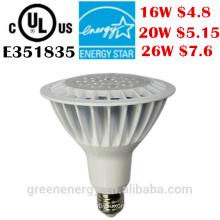led spotlight lamp par38 led ip65 ul energy star 120v dimmable led par38 light 16W 20W 26W
