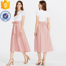 Bow Tie Waist Hidden Pocket Skirt Manufacture Wholesale Fashion Women Apparel (TA3091S)