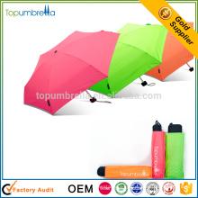 Mini guarda-chuva super super da dobra da luz 5 do bolso aberto manual do funky micro para a conveniência
