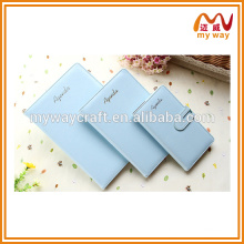 Beautiful blue cover leather notebook for office stationery gift set