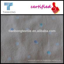 2016 lunares diseño jiangsu marca indonesia algodón pijamas de tela de franela en impresión reactiva