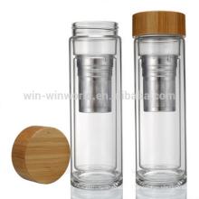Heiße verkaufende fördernde Muttertag Geschenk auslaufsicher tragbare wiederverwendbare Weitwinkel Doppelwand Glas Tumbler mit Holz