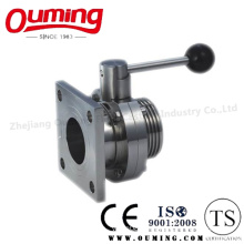 Sanitary Threaded Butterfly Valve with Square Flange