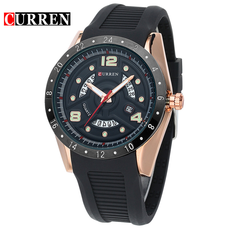 CURREN Fashion Silicon Band Men Wrist Watches