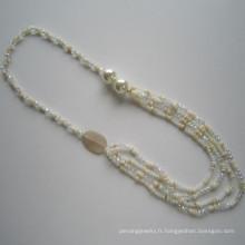 Collier multi-coques et cristaux, bijoux fantaisie, collier en gros
