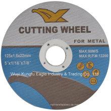 En12413 Resin Abrasive Trennscheiben für Metall