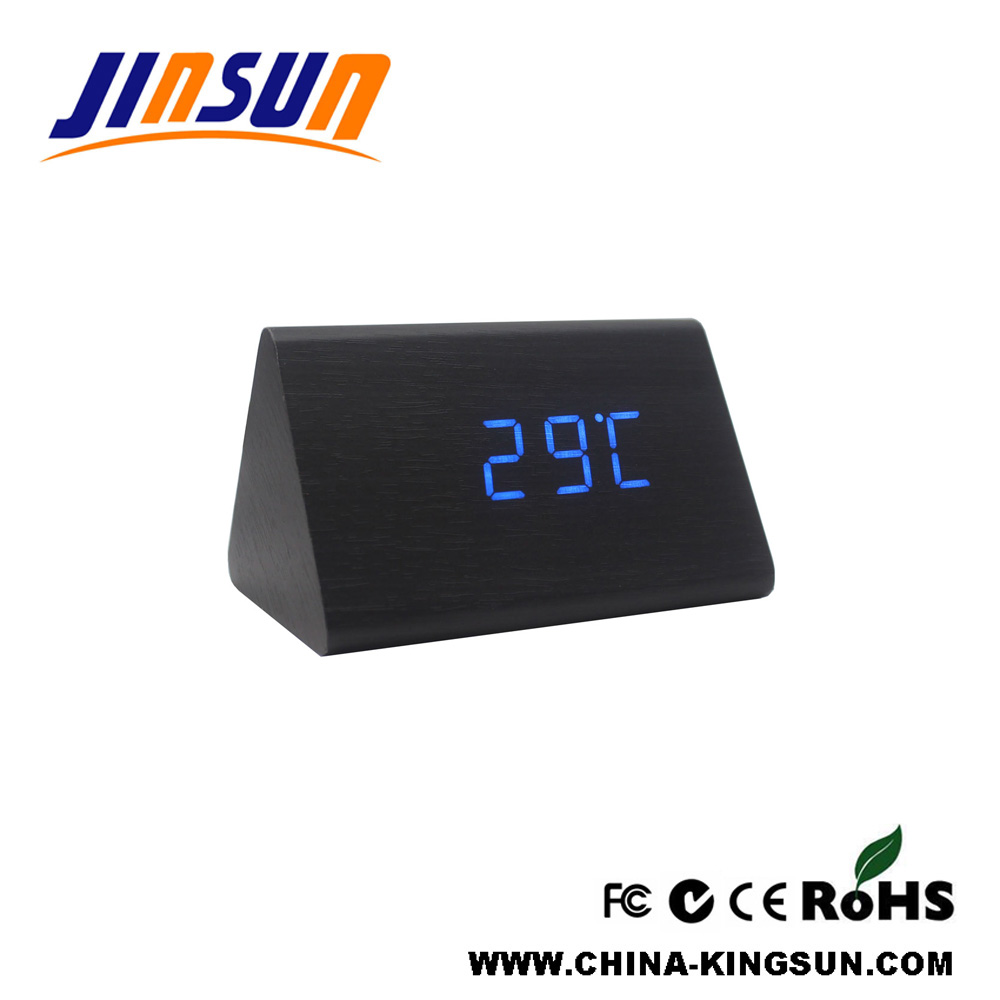 Triangle Wood Led Alarm Clock Small Size