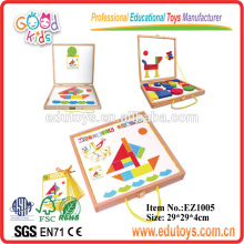 2014 Bloques de patrón magnético con los juguetes de importación de China de tarjetas-barco de QI, juguetes de importación de madera de venta caliente de china