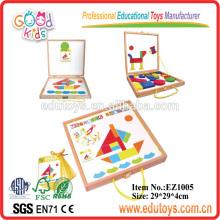 Blocs de motifs magnétiques 2014 avec cartes IQ - jouets importés en Chine de bateaux, jouets importés importés en bois à partir de Chine