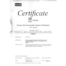 Tecido de algodão com Certificado de impacto ambiental do produto