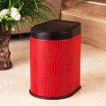 De moda de cuero rojo Prensa basura Bin (H-3LL)