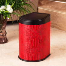 Fashionable Red Leather Press Garbage Bin (H-3LL)