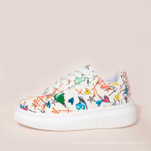 2020 colorful fashion casual shoes unisex printing height increasing shoes