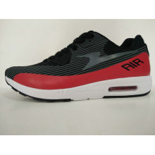 Casual Black Red Md/Rb Outsole Men′s Sports Sneakers