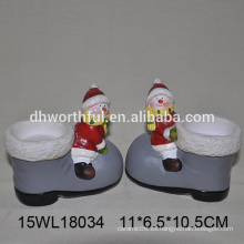 Venta al por mayor candelabro de cerámica en forma de muñeco de nieve para la decoración de navidad