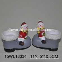 Porta-velas de cerâmica por atacado na forma do boneco de neve para a decoração do Natal