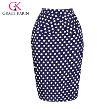 Grace Karin Occident Sexy Women Short Hips Wrapped Retro Cotton Polka Dots Jupe Vintage CL008928-2