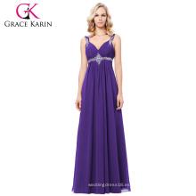 Grace Karin 2017 nuevo vestido de noche púrpura formal de la dama de honor del baile de fin de curso del vestido de bola púrpura Tamaño de archivo 4-16 GK000129-2