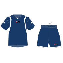 Kids Soccer Uniforms Jerseys And Shorts Dark Blue Color Short Sleeve Football Sportswear