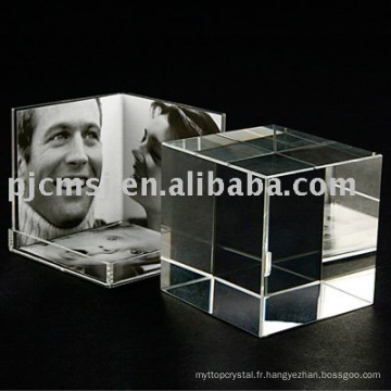Cadre de photo de cube de cristal pour le cadeau et la décoration à la maison