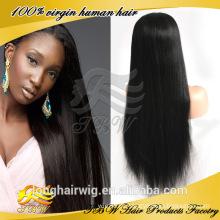 Hotsale 100% cabelo humano virgem cheia do laço peruca longa peruca de cabelo preto em linha reta