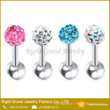 Surgical Steel Crystal Paved Ball Ear Cartilage Tragus Barbell