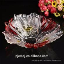 2015 pas cher beau panier de fruits en cristal rouge pour cadeau de décoration de mariage