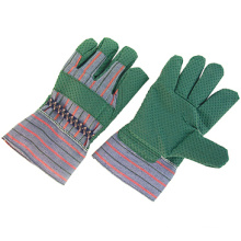 Зеленый винил с покрытием ПВХ точками хлопка работы перчатки-2804