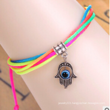 Evil Eye Colorful Thread Diamond Bracelet (XBL13490)