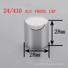 24/410 Alu / Plastic Disc Top Press Cap, bouchon de bouteille de shampooing cosmétique