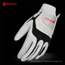 Benutzerdefinierte Leder Lycra Golf Handschuhe mit Custom Design (51212)