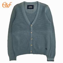 Mangas compridas masculina suéter de cardigan de algodão azul marinho