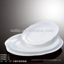 Assiette de dîner d'hôtel en caca blanc
