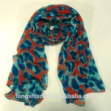 2016 Spring/Summer 100%polyester cheap printed big leopard voile scarf shawls