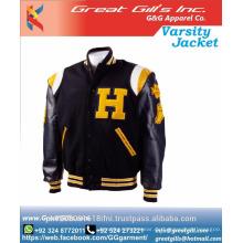 Kundenspezifische Satin-Uni-Jacke / Letterman-Uni-Jacken College-Jacke aus Pakistan / Baseball-Uni-Jacke