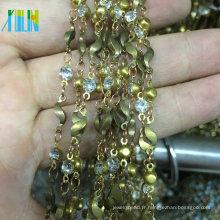 Nouvelle chaîne de perles de chapelet de chaîne de strass de griffe de coupe de conception en métal