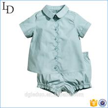 Summer cotton hot sale girls clothing aqua floral ruffle short set children clothes wholesale