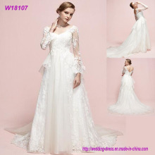 Real Photos Long Sleeves Patterns Designs Custom Made Long Bridal Design Wedding Dress