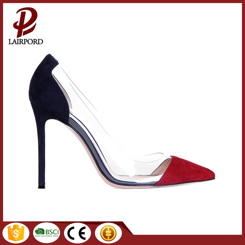 sexy elegant red leather pvc stitching shoes