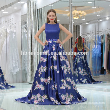 2017 printed sleeveless elegant royal blue wedding wear evening dress small tail backless blue evening dress for bridal