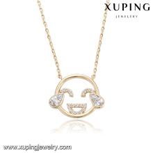 43889 xuping liga de cobre moda 18 k adorável sorridente rosto tipo crianças colar emoji crianças jóias